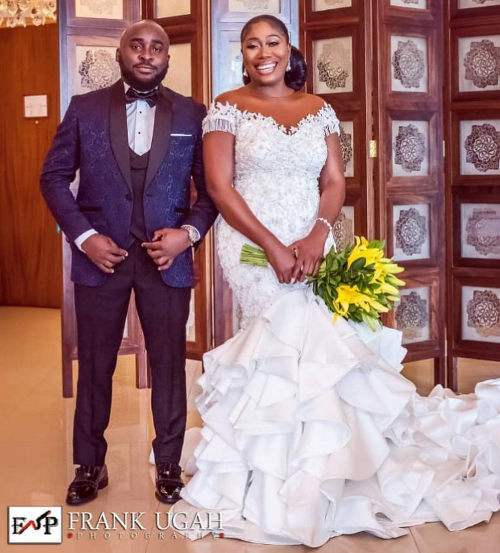 First photos from the white wedding of OAP Gbemi Olateru-Olagbegi & her hubby, Femi Ajayi