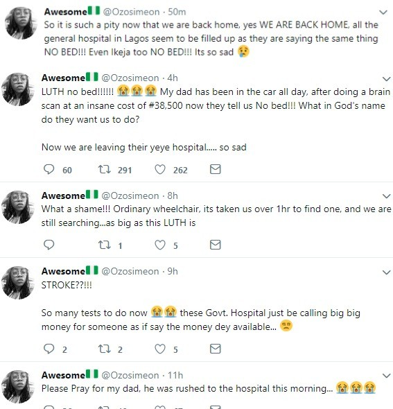 Lady forced to take her dad who just suffered stroke back home after all general hospitals in Lagos turned him back due to unavailable bed space