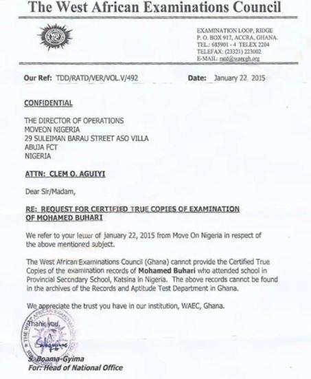 WAEC Headquarters in Ghana say they have no record of Buhari?s certificate - Reno Omokri