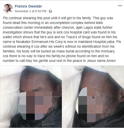 Man found dead in an uncompleted building in Lekki (graphic photos)
