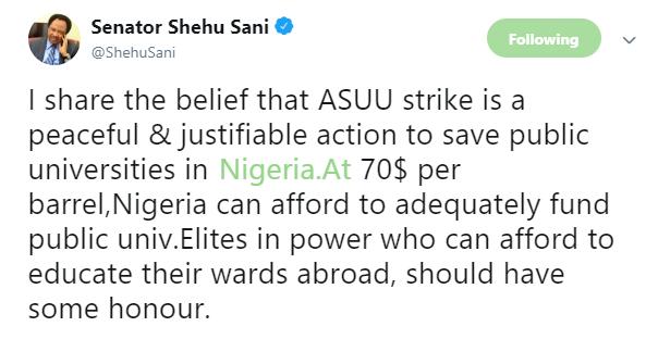 Shehu Sani says ASUU strike is justifiable