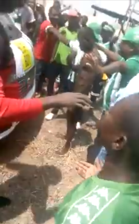 Foootball player almost mobbed after he was caught parading naked in opponents