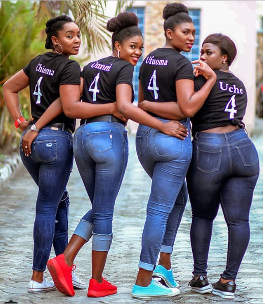 Nollywood stars and BFFs Ufuoma, Omoni, Uche and Chioma Akpotha show off their backsides in matching outfits (Photo)