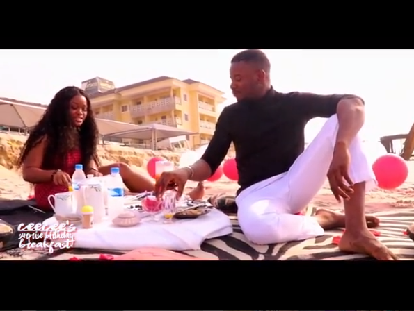 Leo Dasilva celebrates his boo Cee-C with lovely words, takes her to the beach for romantic breakfast (Video)