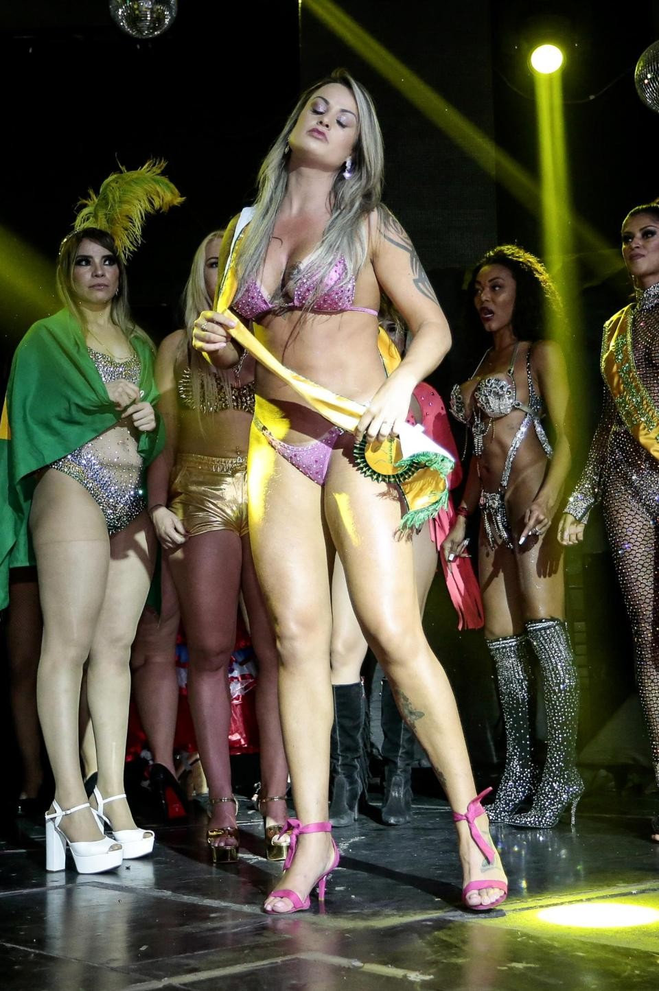 Miss BumBum Contestants fight on stage as one accuses rival of cheating with