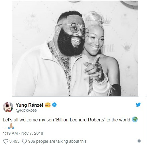 Rick Ross welcomes a baby boy with girlfriend Brianna Camille, names him Billion