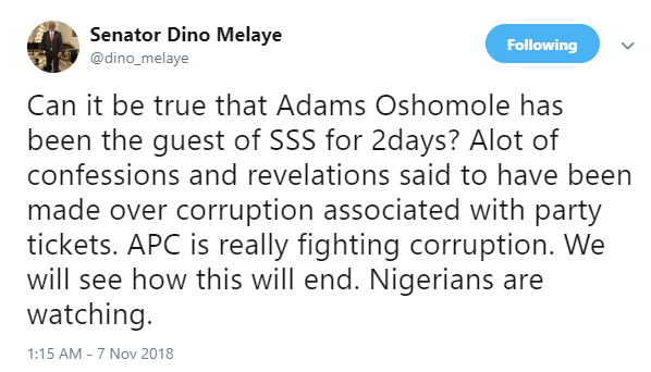 Dino Melaye alleges Oshiomole has been interrogated by SSS over alleged corrupt practices
