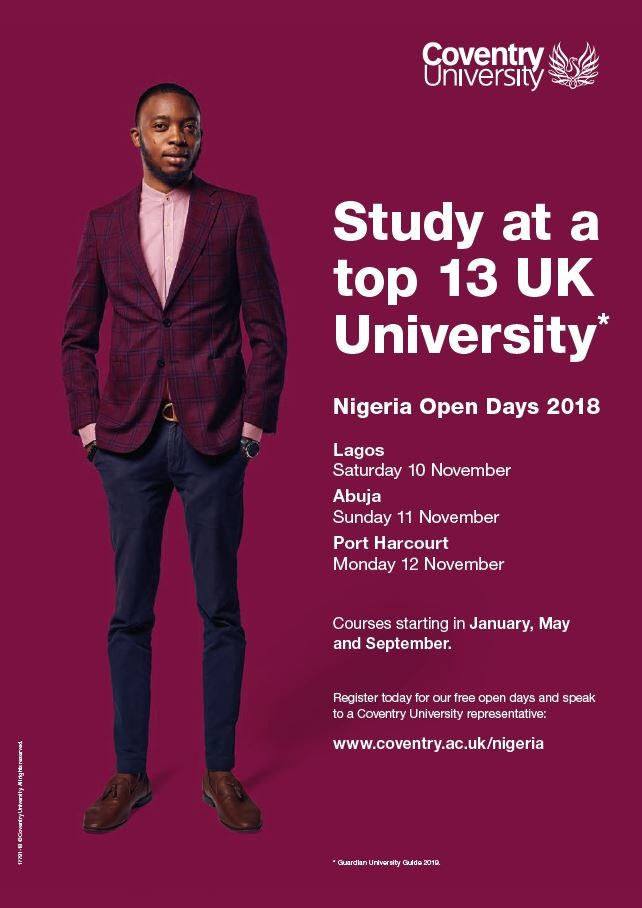 Study at a top 13 UK University - Coventry University