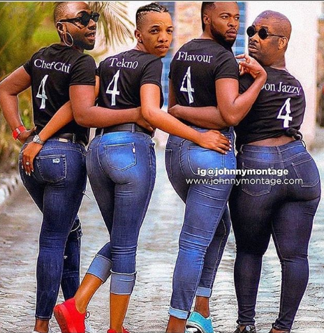 Lol..someone photoshops faces of Davido, Don Jazzy, Flavour and Tekno in trending photo of Omoni Oboli and other actresses
