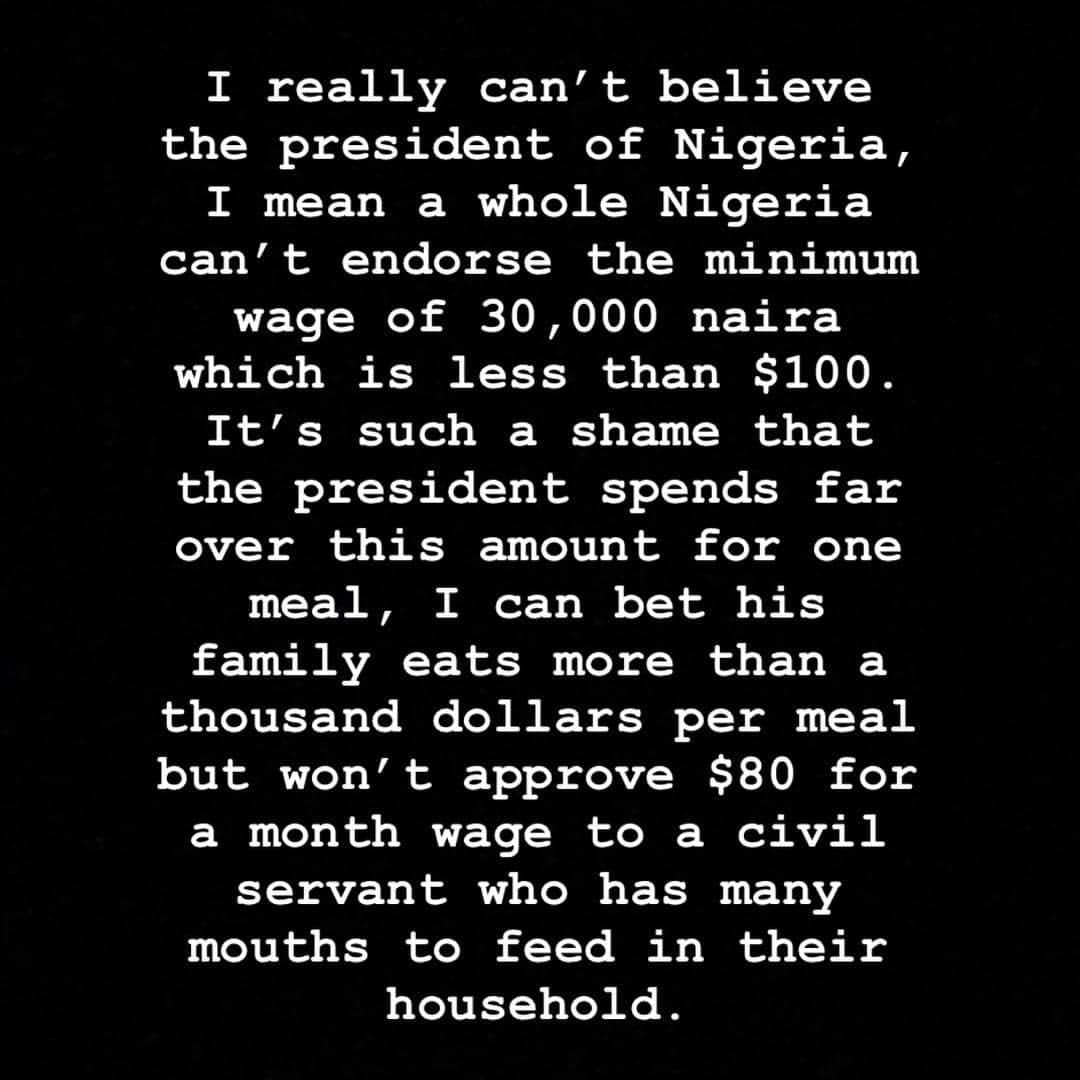 ''Buhari's family eats more than a thousand dollars per meal but he can't approve N30k minimum wage for civil servants'' Hushpuppi