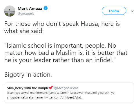 Outrage on Twitter as Muslim lady says it