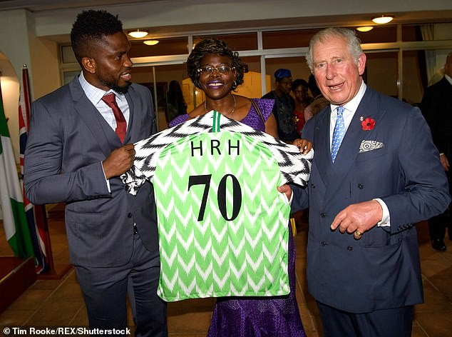 Photos of Joseph Yobo presenting Nigerian jersey to Prince Charles in Lagos