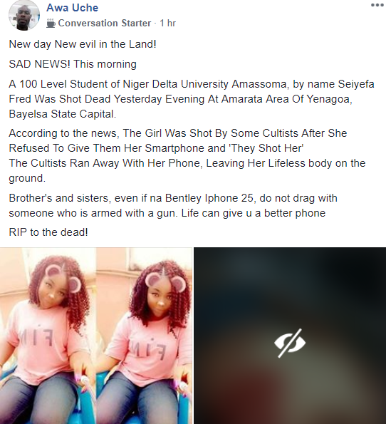 100 level student shot dead by gunmen after she allegedly hesitated to hand over her new iPhone (graphic photo)