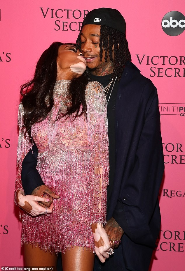 Winnie Harlow packs on PDA with beau Wiz Khalifa at Victoria