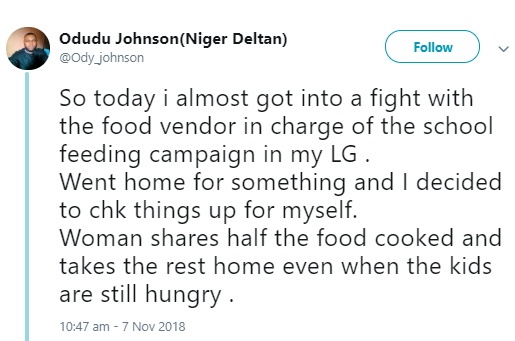 Twitter user accuses food vendor in charge of the school feeding programme of leaving kids hungry and taking the food with her home