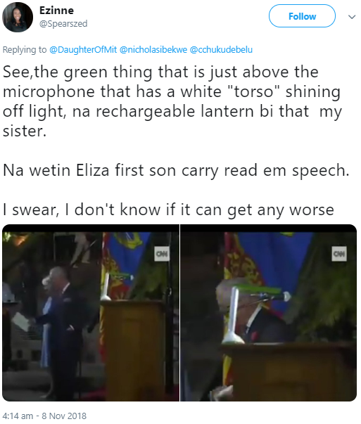 Nigerians react to Prince Charles reading his speech with a rechargeable lantern in Abuja