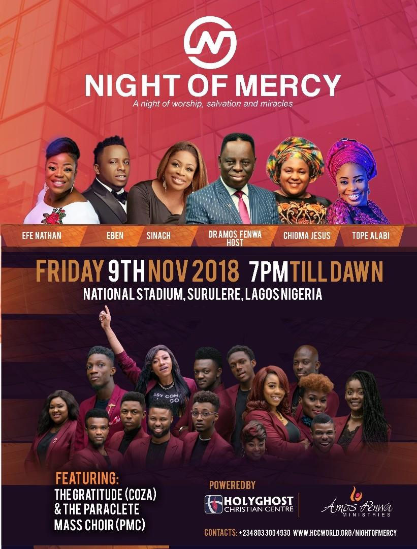 Amos Fenwa host great Nigerian artistes at the Night of Mercy 2018