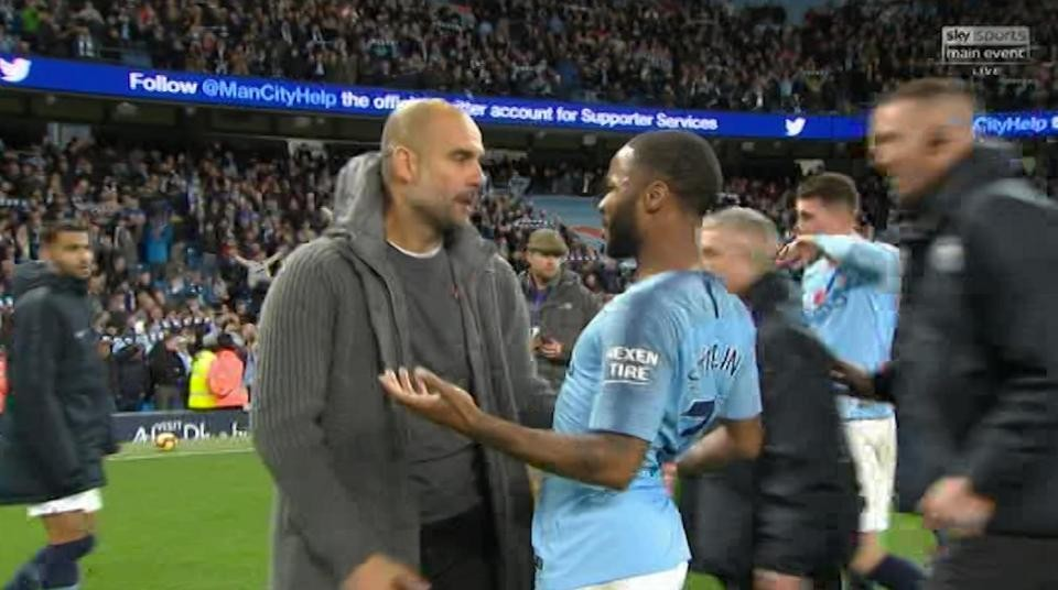 Guardiola argues with Raheem Sterling on pitch despite Mancity's 3-1 derby victory (photos/videos)
