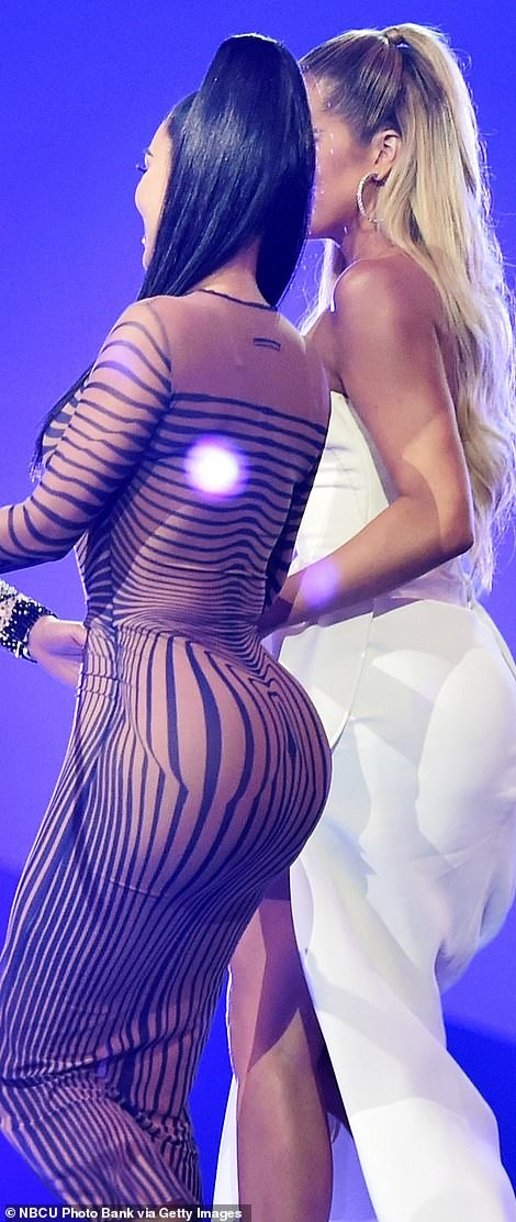 5be94fd3ee87e - Kim Kardashian Shows Off Curves In A See-Through Dress At People's Choice Awards (Photos)