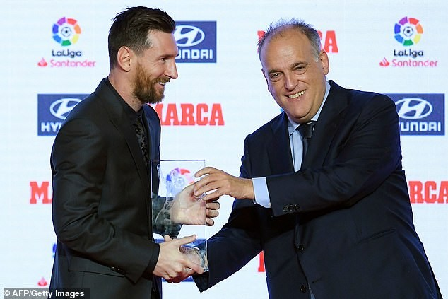 Barcelona star Lionel Messi receives Alfredo Di Stefano trophy and Pichichi award ?(Photos)