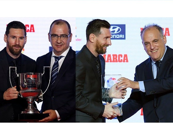 Barcelona star Lionel Messi receives Alfredo Di Stefano trophy and Pichichi award  (Photos)