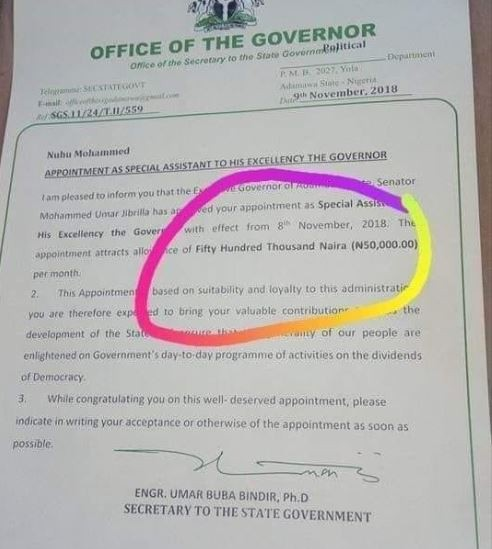 Check out this employment letter offering to pay?Fifty Hundred Thousand Naira to a special adviser to the Adamawa State governor