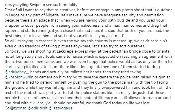 Stylist narrates how his team was harassed by Lagos louts and brutalized by police