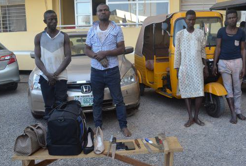 Photo: FCT police arrest four ?One Chance? suspects, female underwear found on them