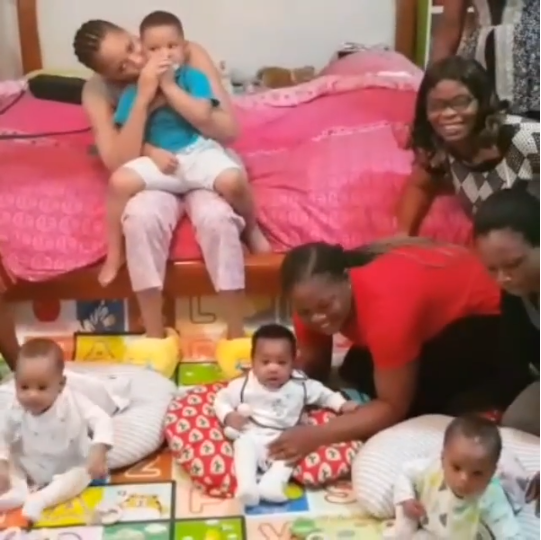 Femi Fani-Kayode shares photo of his wife, their sons, and their nannies as they bond before bedtime (video)