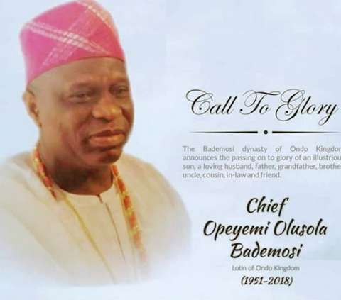 Family announce funeral of Chief Ope Bademosi murdered by his cook in Lagos