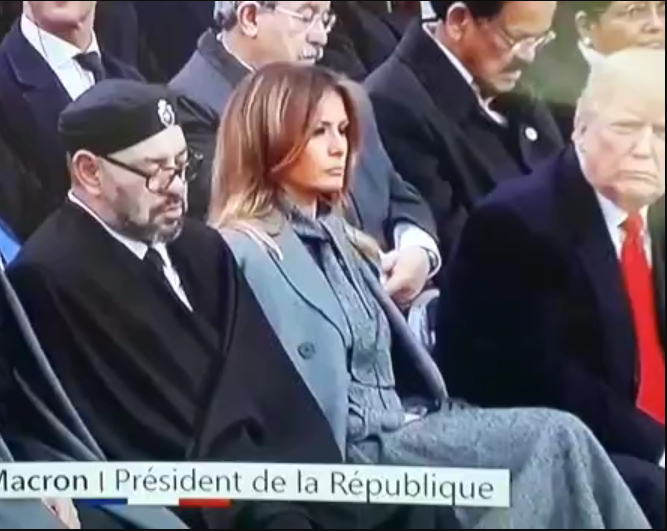 See viral video of King of Morocco sleeping at an event with President Donald Trump giving him a fierce look?