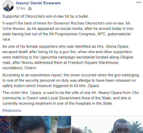 Security operatives accidentally shoot lady during event organized for Okorocha