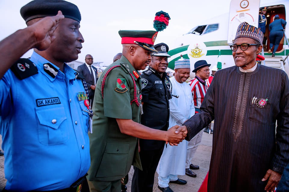 President Buhari returns to Abuja after a 5 day official visit to Paris