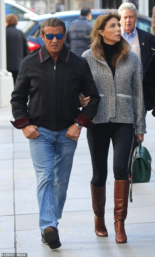 Sylvester Stallone takes his wife Jennifer Flavin and daughter Sophia shopping in NYC (Photos)