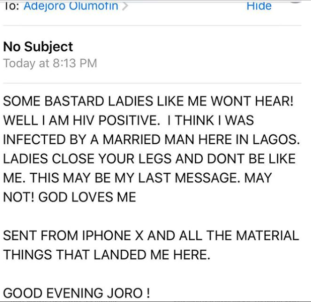Nigerian slay queen reveals she has been infected with HIV by a married man in Lagos