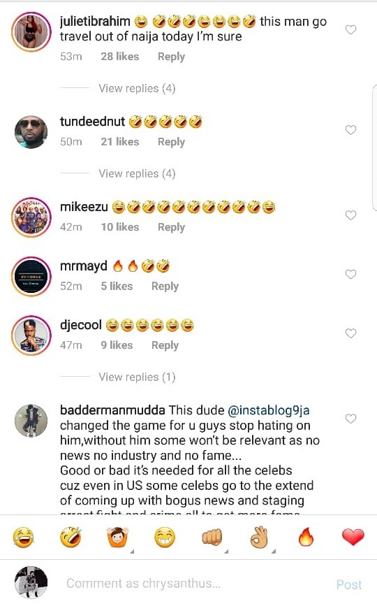 Bovi, Special Spesh, Oyemykke and other celebrities react after the identity of Instablog9ja founder was exclusively revealed by LIB today. (Screenshots)