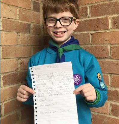 Boy, 7, writes a letter asking kids to boycott McDonald