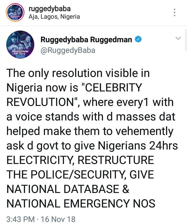 Rugged man writes open letter to celebrities telling them that they have a responsibility to demand better governance for their fans