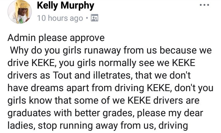 Keke driver advises women to stop turning them down; says they make even more money than men in the corporate world