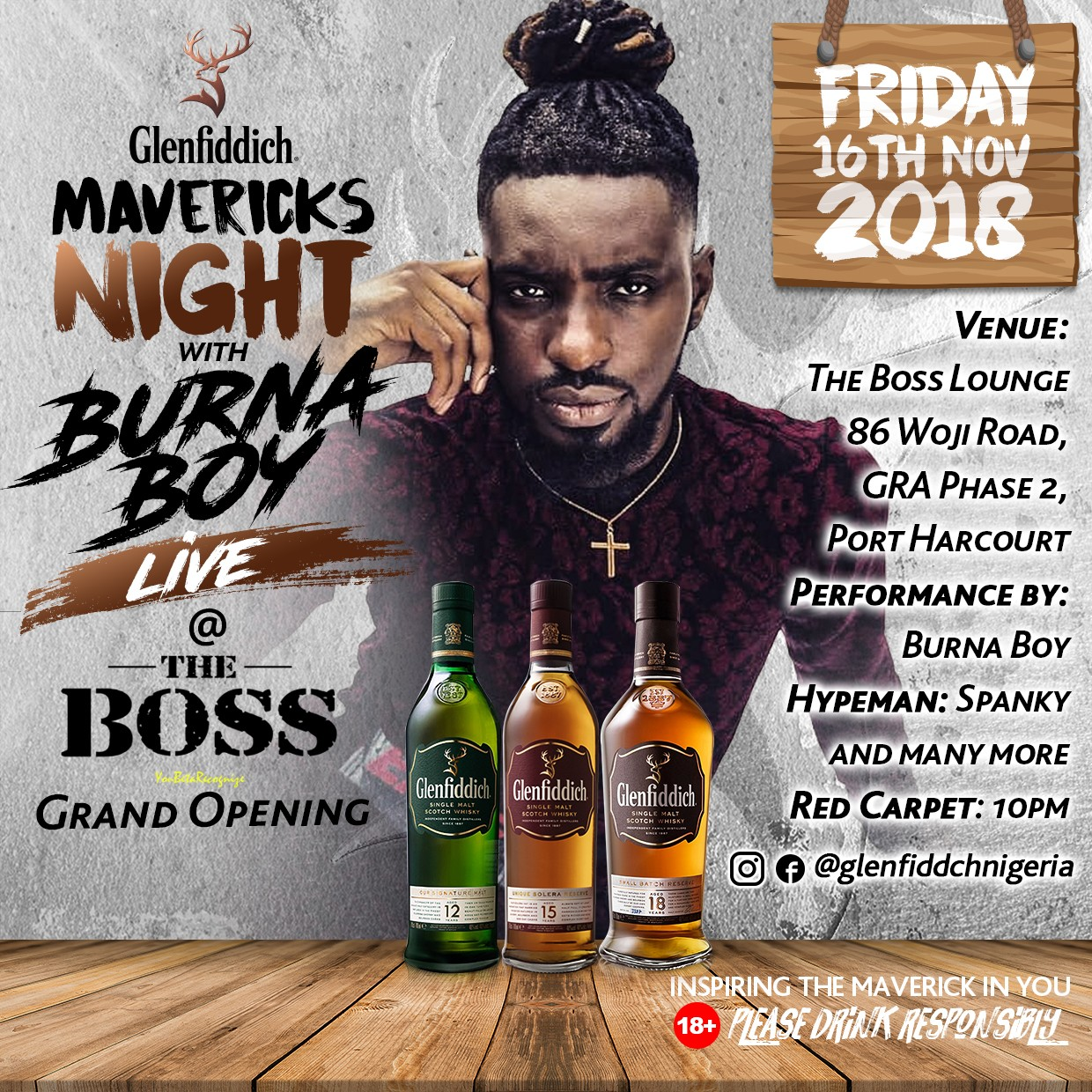Burna Boy takes the Glenfiddich #Mavericksnight Party to Port Harcourt with Spanky Manolo this Friday