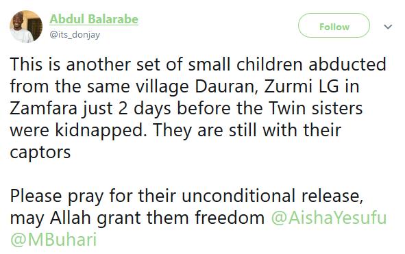 Photo: Two little boys abducted in Zamfara