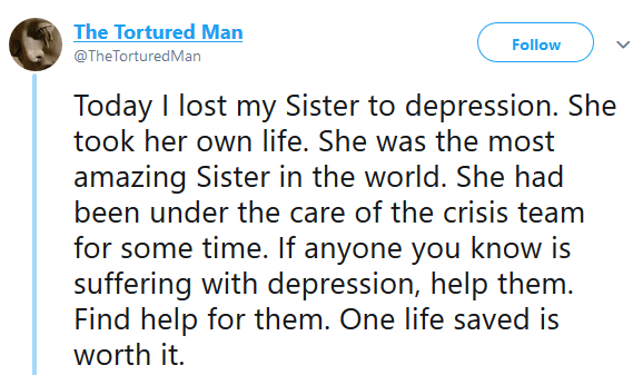 Man mourns his sister who just committed suicide after months of battling depression
