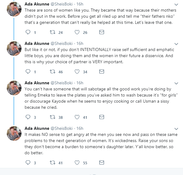 """Raise your sons so they don?t become a burden to someone?s daughter later"" - Woman cautions Nigerian mothers"