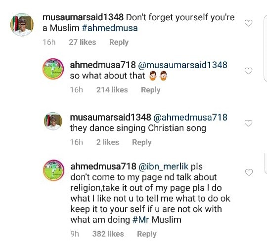 Between Ahmed Musa and IG user who said because he is a Muslim, he shouldn