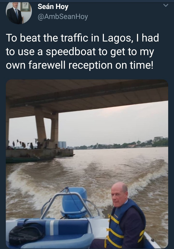 See how the Irish ambassador to Nigeria beat Lagos traffic