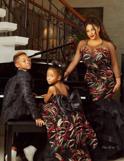 """No drama"" Lola Omotayo-Okoye and her kids dazzle in new photos"