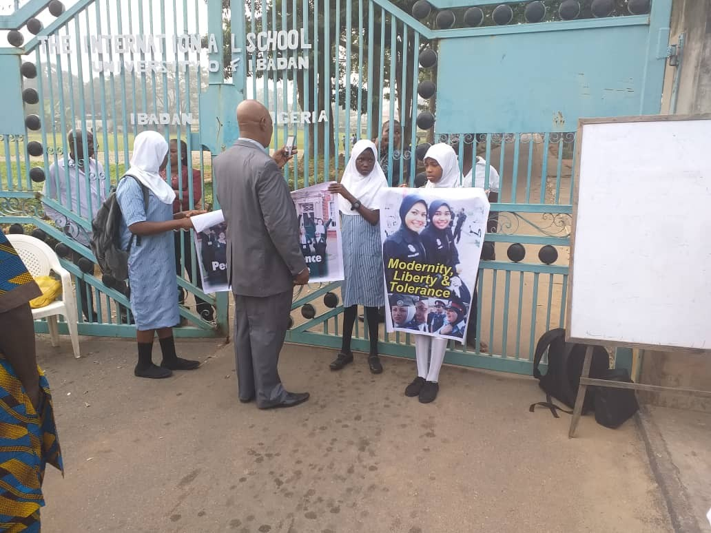 Photos: International School Ibadan shut down till further notice over Hijab protest