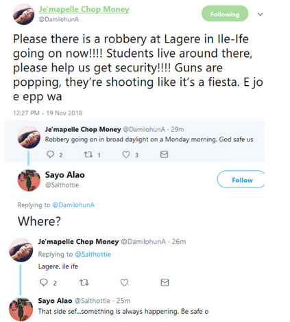 Twitter user calls for help as robbers attack OAU environ