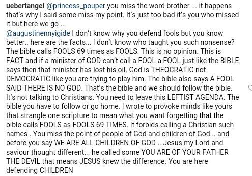 Popular Zimbabwean pastor, Prophet Uebert Angel defends himself after being criticized for calling people