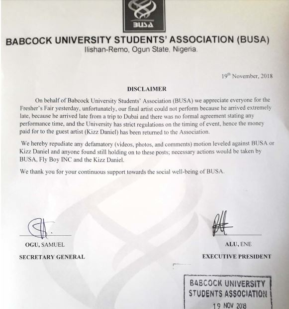 'Kizz Daniel has returned the money we paid him to perform' - Babcock University Students Association confirm